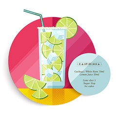 Caipirinha cocktail drink recipe for party vector