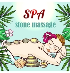 Spa woman gets relax spa massage vector