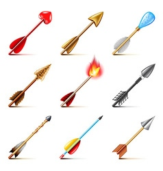 Bow arrows icons set vector
