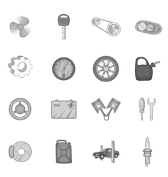 Auto spare parts icons set black monochrome style vector