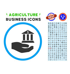 bank service hand rounded icon with set vector image