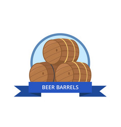 beer wooden barrels isolated vector image