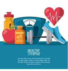 Color poster elements sport healthy lifestyle with vector