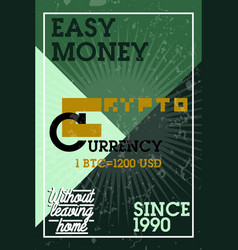 color vintage cryptocurrency banner vector image