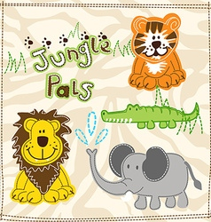 Cute african wild animals embroidery vector