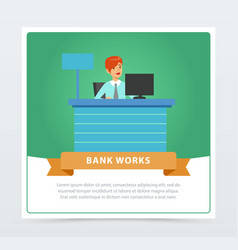 female manager at the bank office bank works vector image vector image