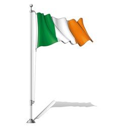 Flag pole ireland vector