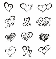 hearts tattoo set vector image