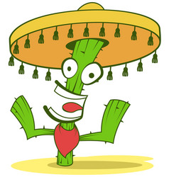 Jolly cactus in sombrero vector