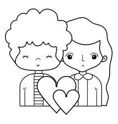 line beauty couple together with hairstyle design vector image