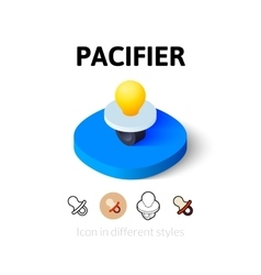 Pacifier icon in different style vector image