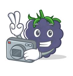 Photographer blackberry character cartoon style vector