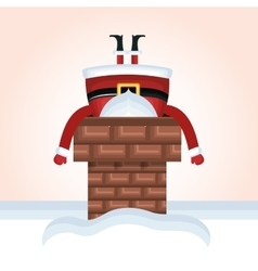 Santa claus chimney stuck design vector