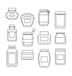 set of 12 different jar made in line style vector image