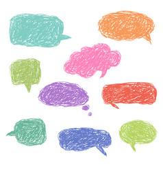 set of blank colorful hand drawn speech bubbles vector image