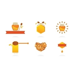 Set of honey labels icons and design elements vector