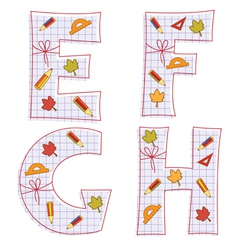 Sheet alphabet letter e f g h vector
