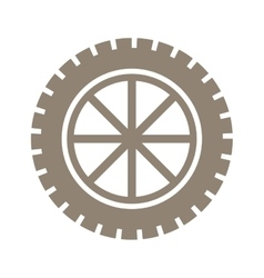silhouette gear wheel icon with lines vector image