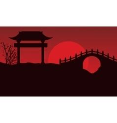 Silhouette of bridge scenery chinese vector