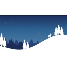 Silhouette of hill landscape winter christmas vector