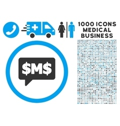 SMS Bubble Icon with 1000 Medical Business vector image vector image