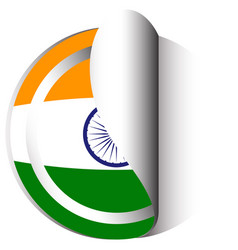 Sticker template for india flag vector