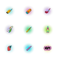 Tobacco icons set pop-art style vector