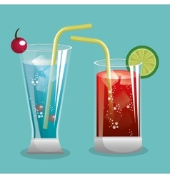 two cocktail glass with fruit design vector image vector image