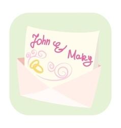 Wedding invitation cartoon icon vector