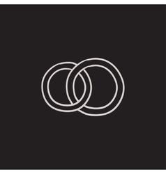 Wedding rings sketch icon vector image vector image