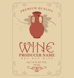 Wine label with clay pitcher and vine in retro vector