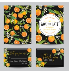 Orange leaves and flowers wedding card invitation vector