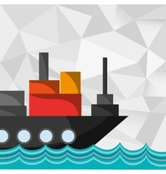 Cargo ship on water image vector