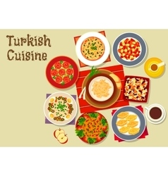 Turkish cuisine dishes for festive dinner icon vector