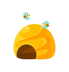 Ground yellow beehive and bees natural honey vector
