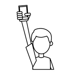 outlined guy hand holding smartphone vector image