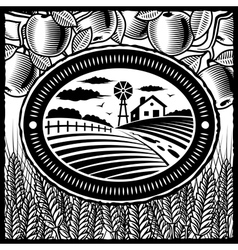 Retro farm black and white vector image