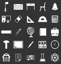 School icons on black background vector