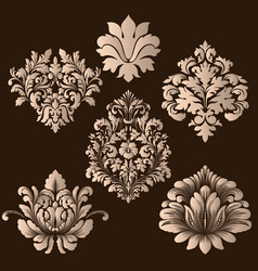 Set of damask ornamental elements elegant vector