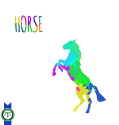 Abstract colorful horse silhouette vector