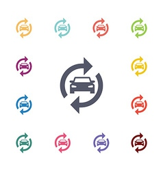 Auto service flat icons set vector