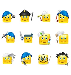 Smilies different professions vector