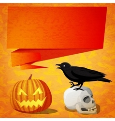 Halloween cute banner with black raven on the vector