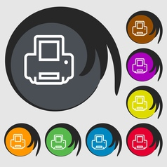 Printing icon sign symbol on eight colored buttons vector
