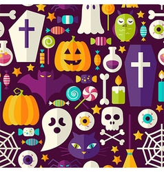 Flat dark halloween party seamless pattern vector