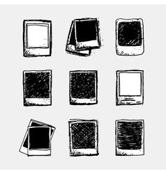 Hand drawn sketchy polaroid doodles vector image