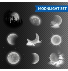 Moonlight transparent set vector