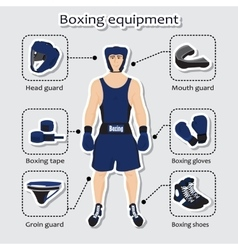 Sport equipment for boxing martial arts with vector