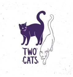 Cats black and white vector