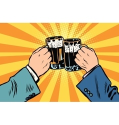 toasting hands beer party poster vector image